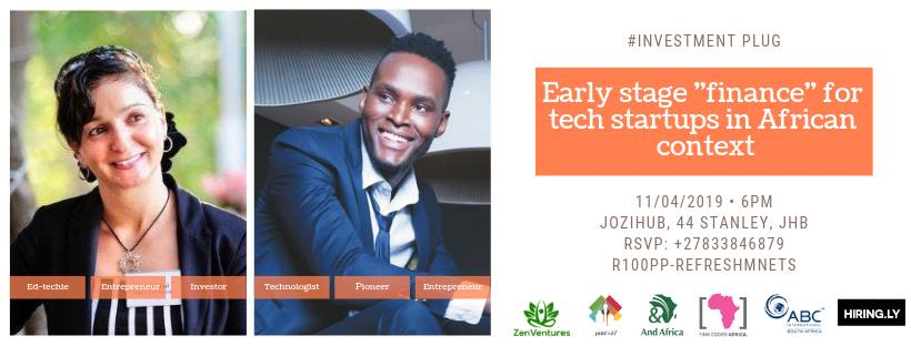 "And Africa held a startup event ""Early stage ""finance"" for tech startups in African context"" in Johannesburg."